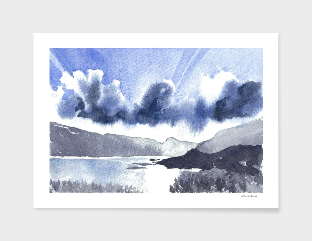 Watercolor Scotland Loch