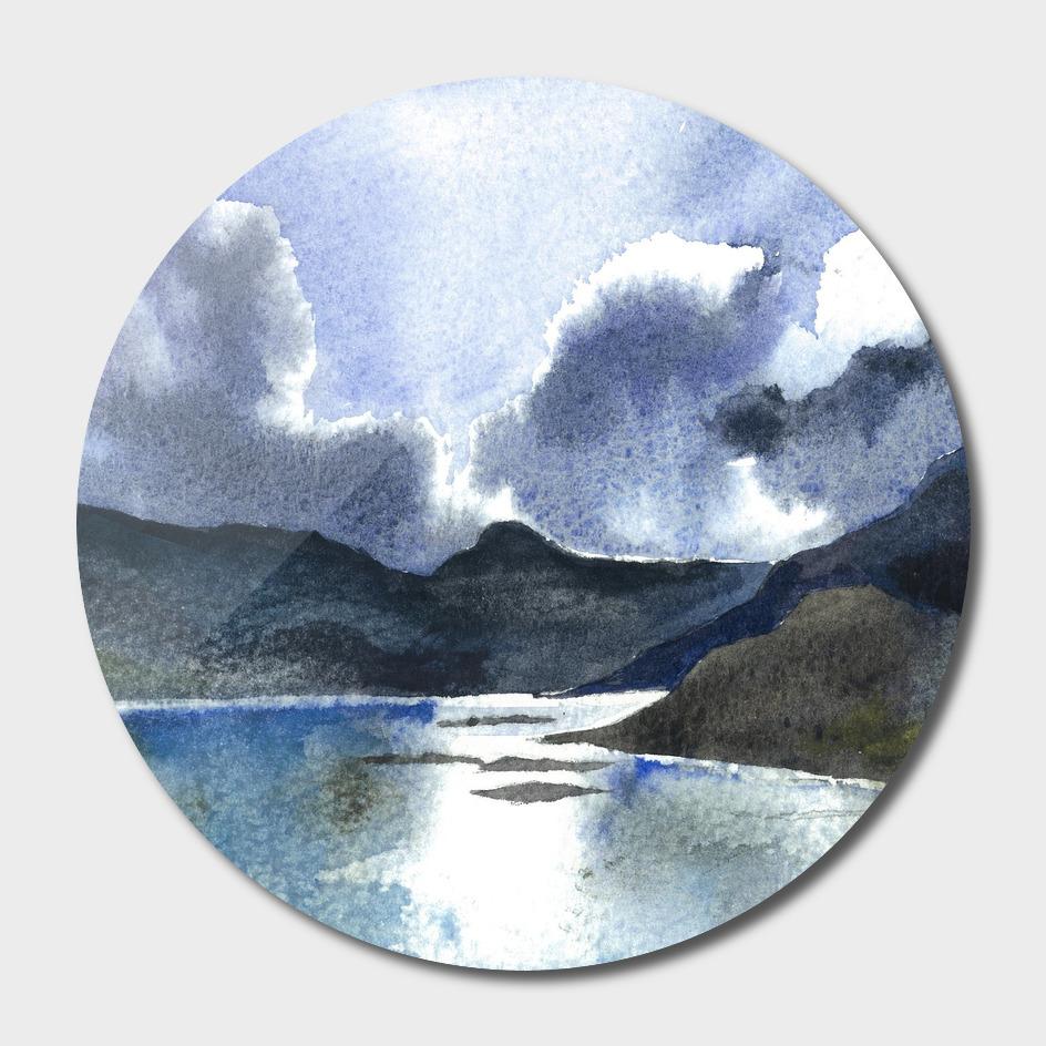 Watercolor Scotland Loch