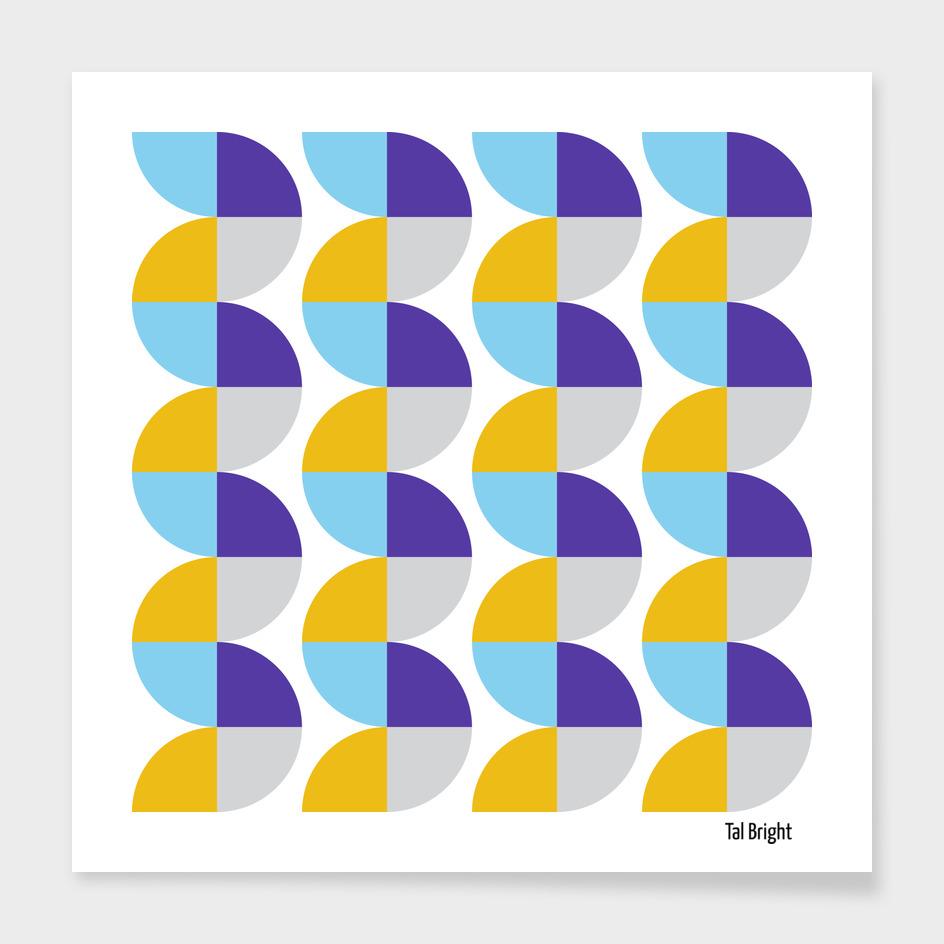 Vintage abstract geometric art - Purple yellow & blue