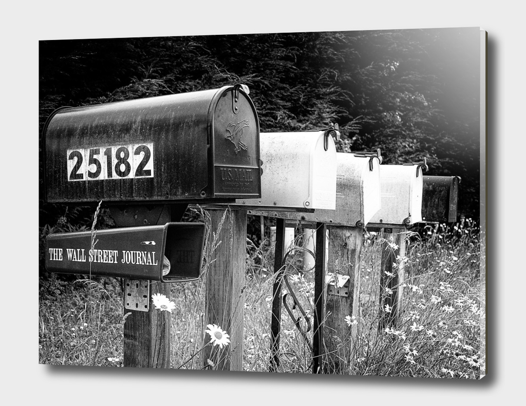 Black and white row of old road country mailboxes