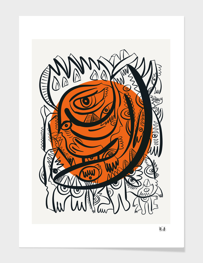 Black and white Graffiti Art and Orange Sun