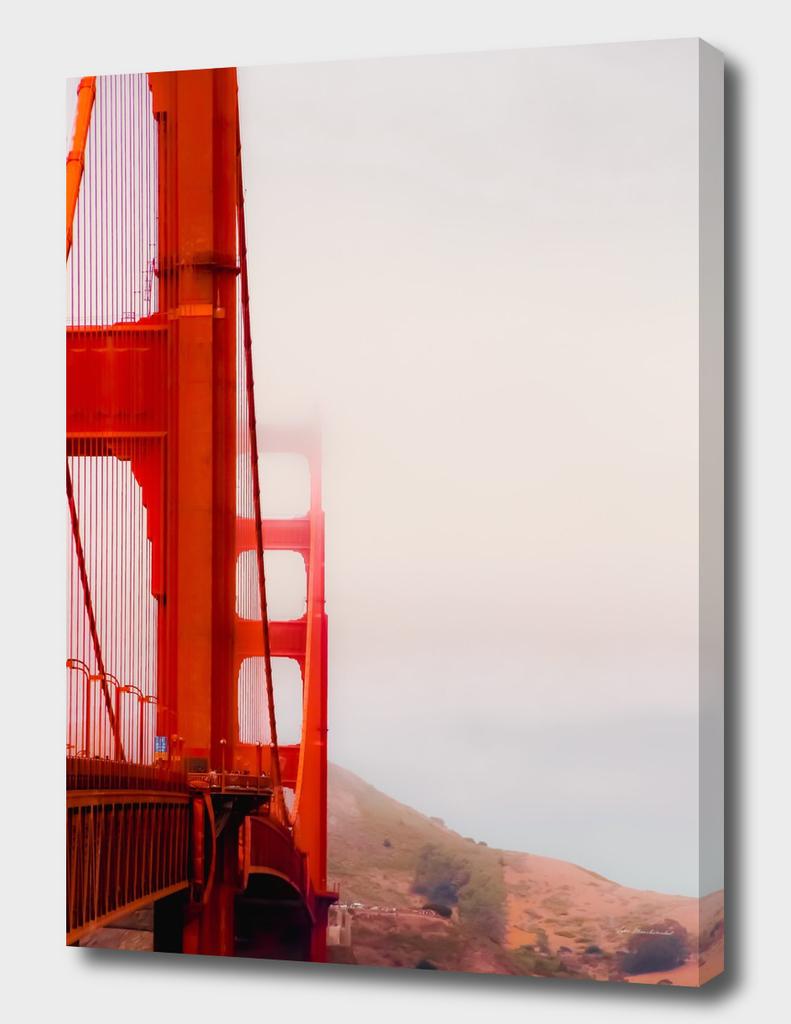 Closeup Golden Gate bridge with foggy sky San Francisco USA