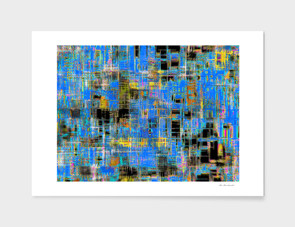 geometric art texture abstract background in blue yellow