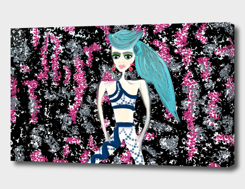 Flowered wallpaper featuring blue haired girl