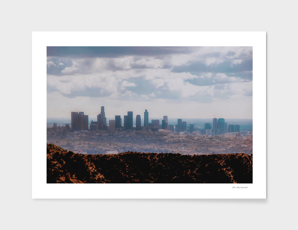 Los Angeles city with blue cloudy sky at Los Angeles
