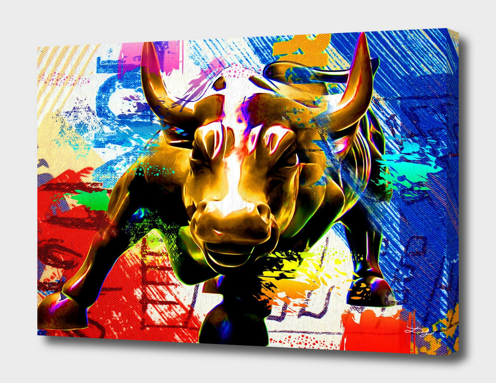 Wall Street Bull Painted