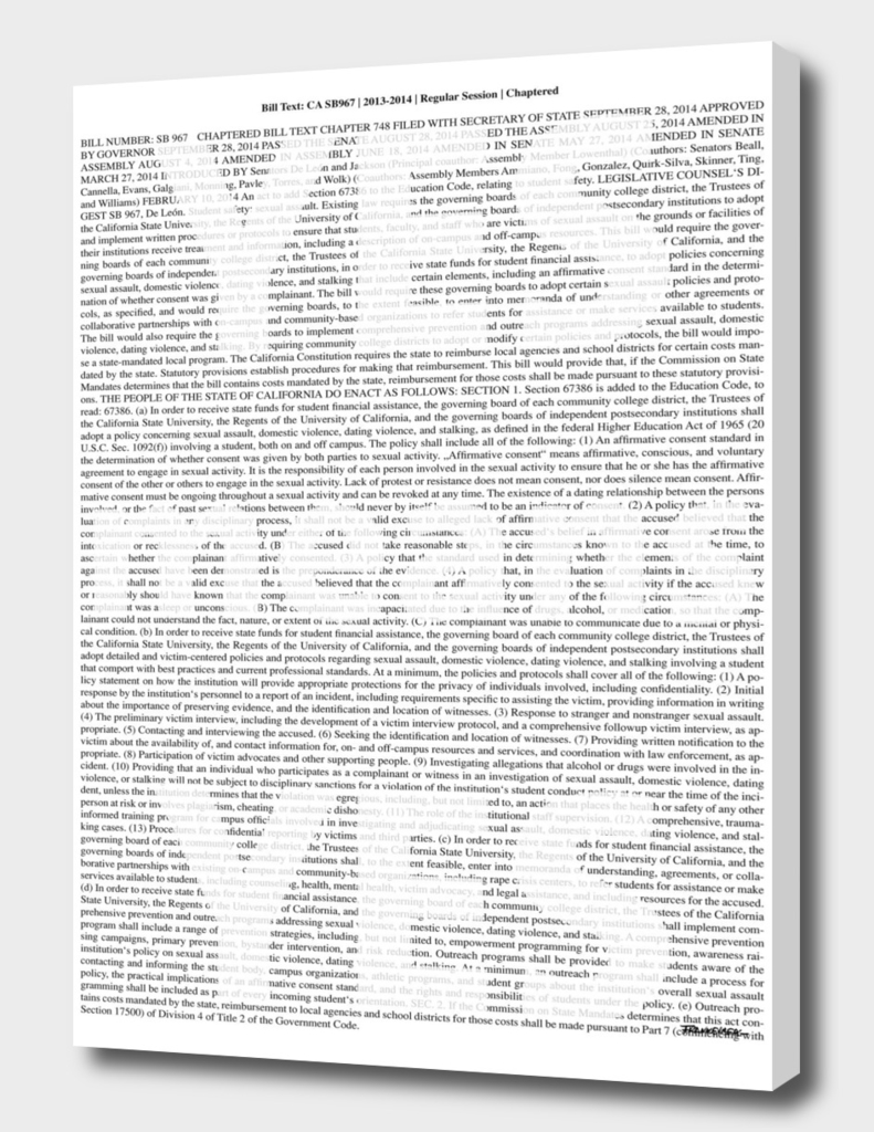 Yes means Yes - whole law text - SB-967