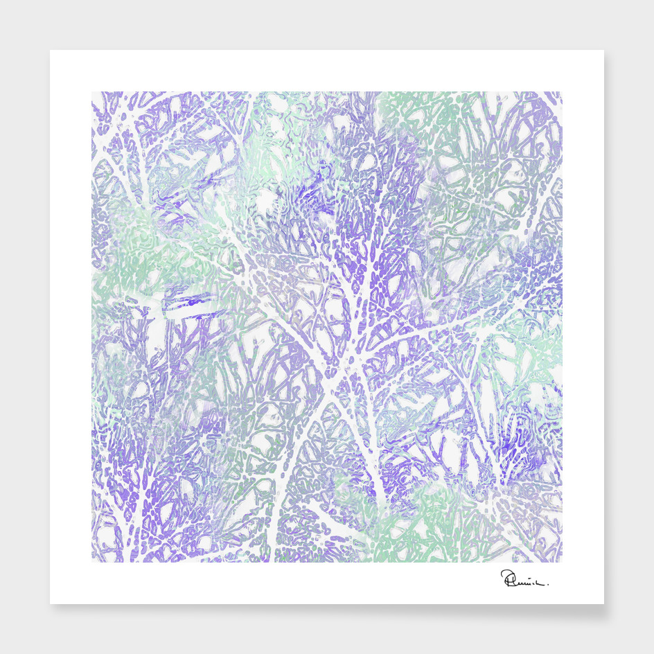 Tangled Tree Branches in Purple and Green