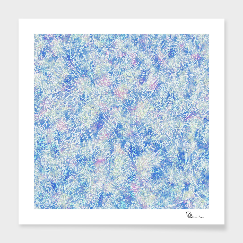 Tangled Tree Branches in Pastel Blue