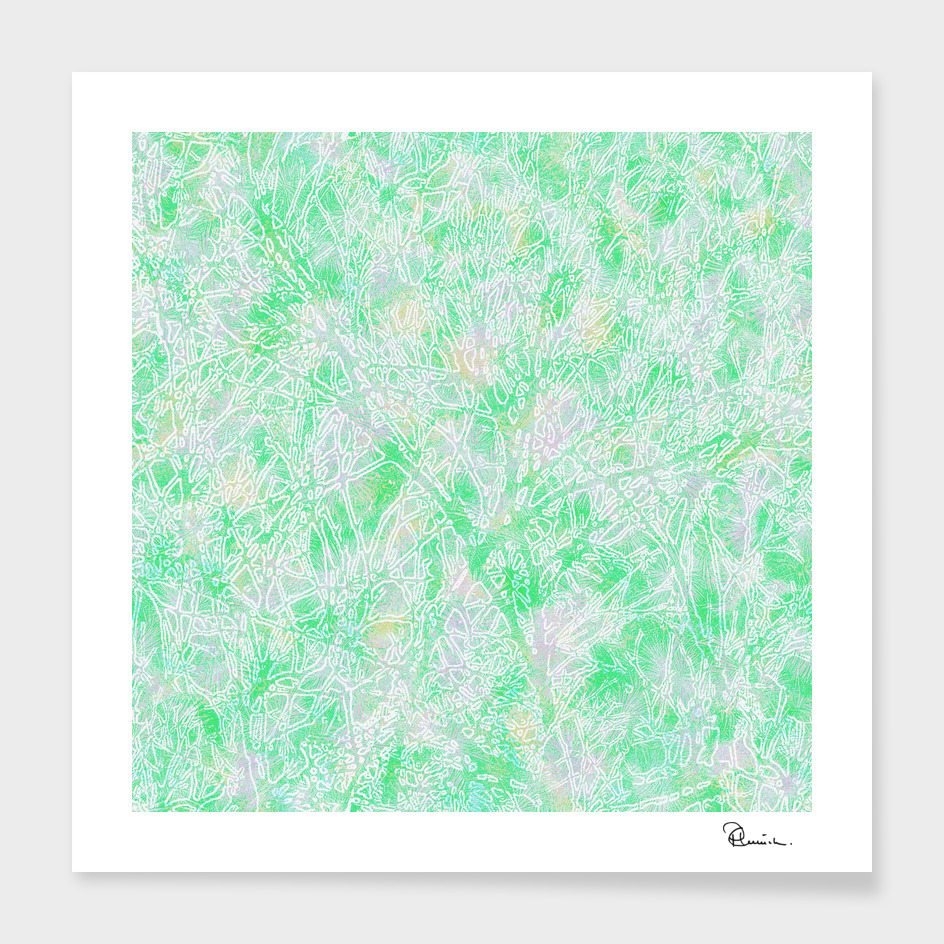 Tangled Tree Branches in Pastel Green