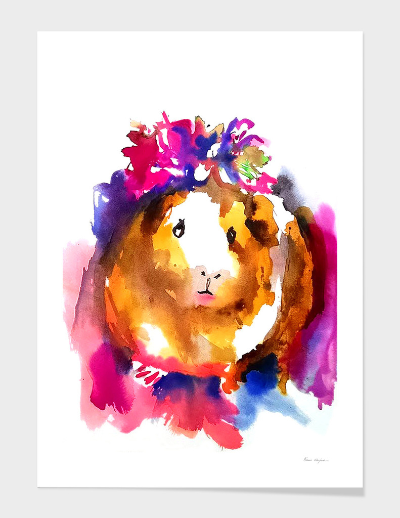 Guinea Pig With Flower Crown Art Print By Emma Kaufmann Curioos