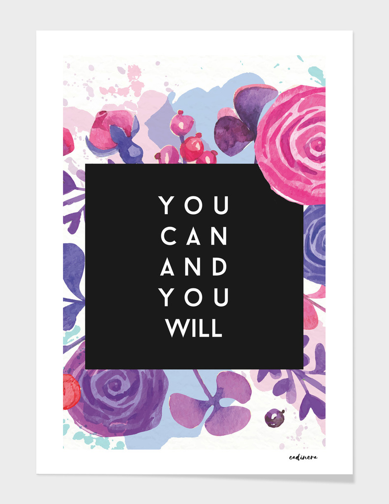 Watercolor Flowers + Inspirational Success Quote