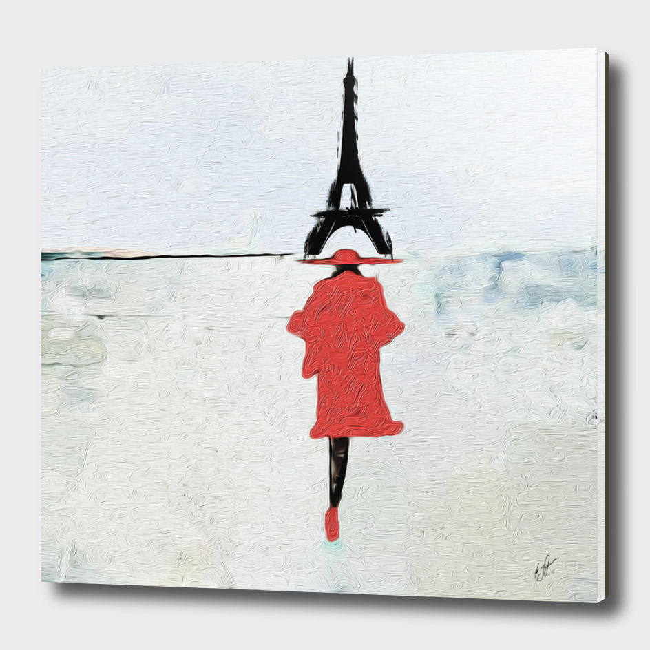 Silhouettes of women in red on the background of Paris.