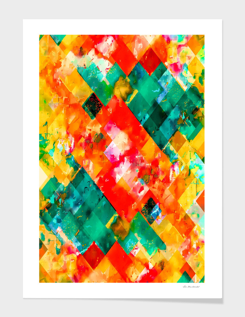 geometric pixel square pattern abstract in orange green red
