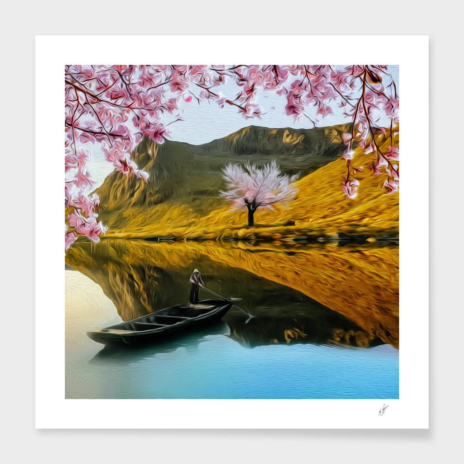 Blossoming sakura branches against.