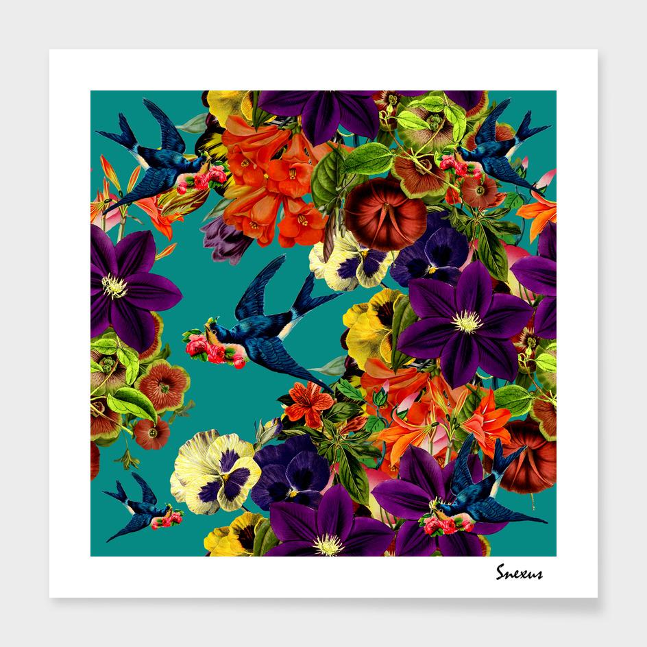 Vintage Floral Swallow Teal