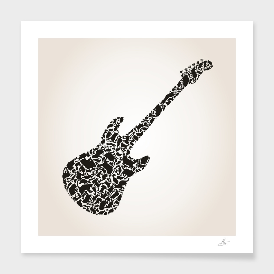 Cat a guitar