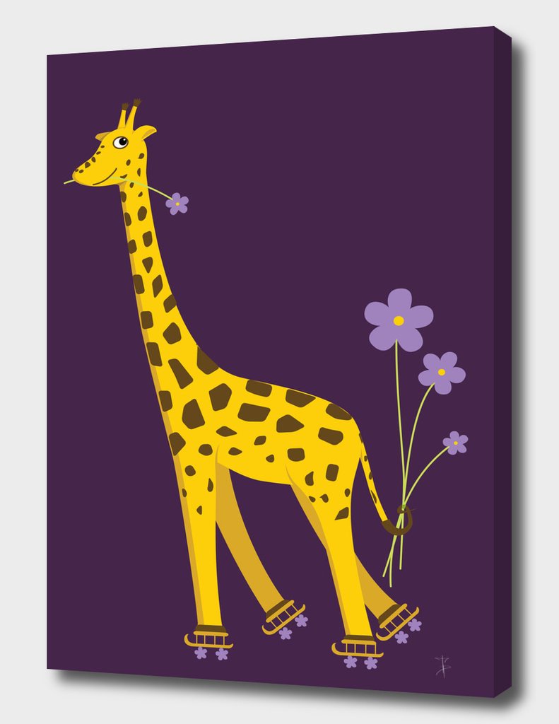 Cute Skating Cartoon Giraffe