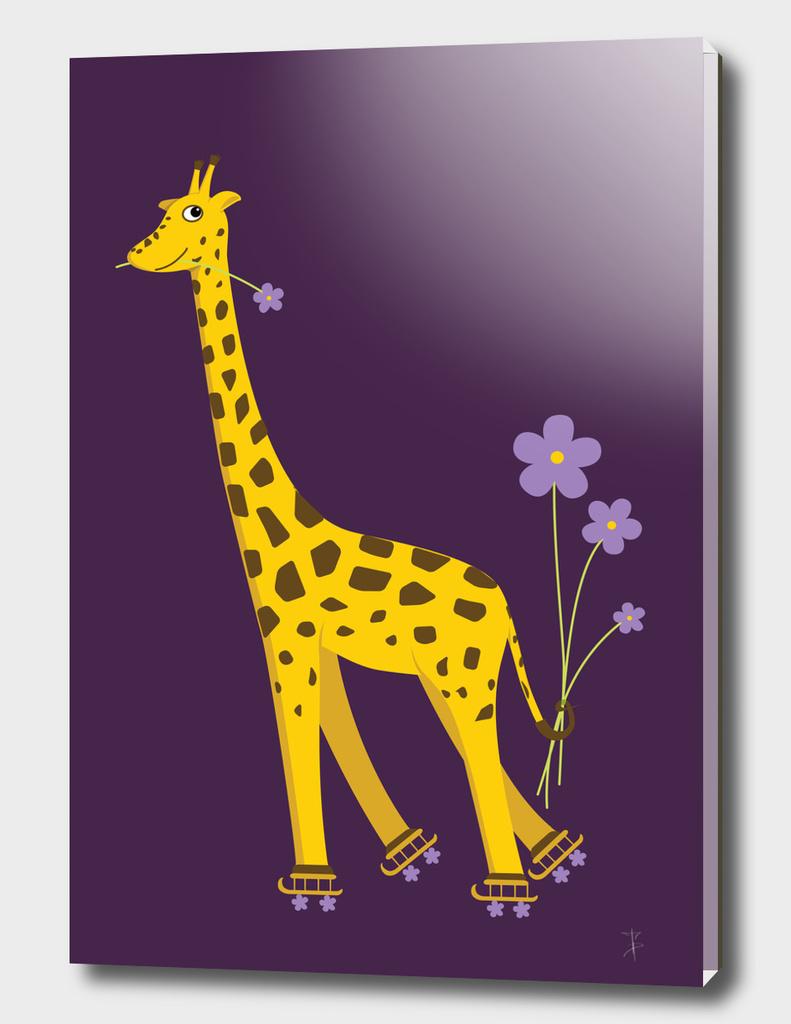 Cute Skating Cartoon Giraffe
