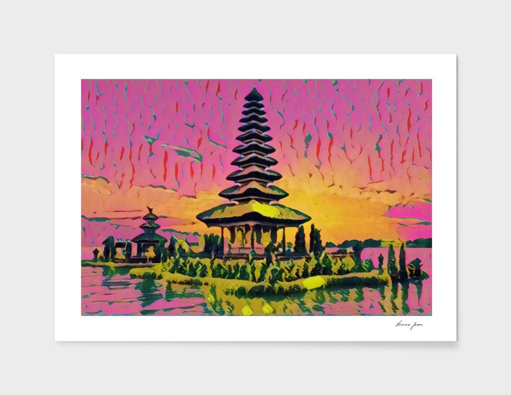 Indonesia Pura Ulun Danu Temple Artistic Illustration