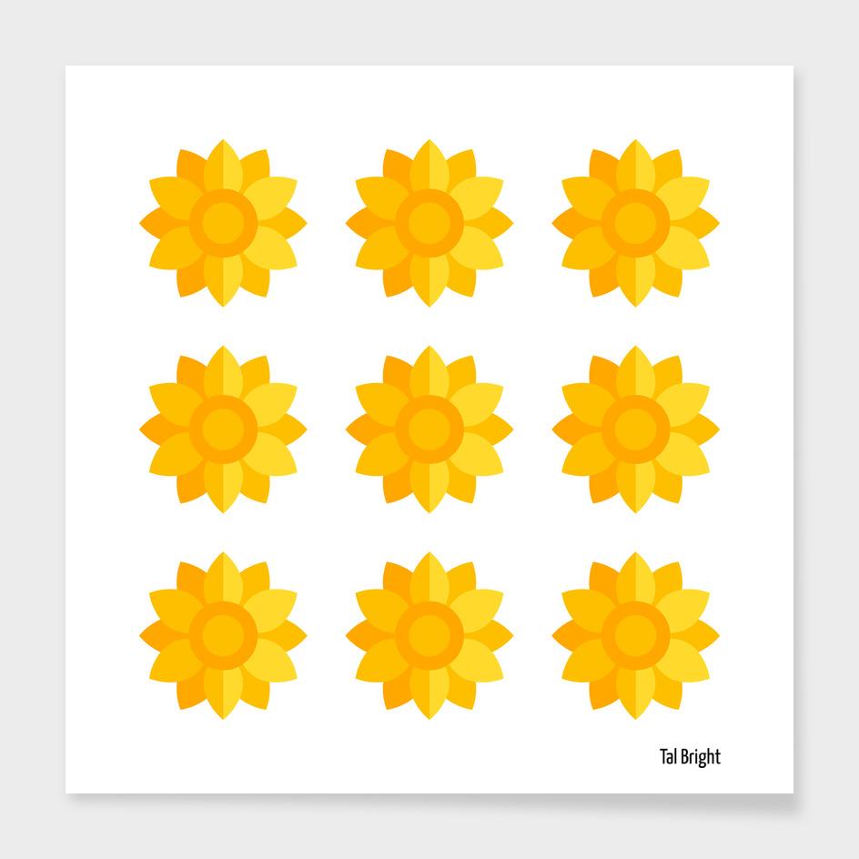 Sunflower geometric art floral pattern