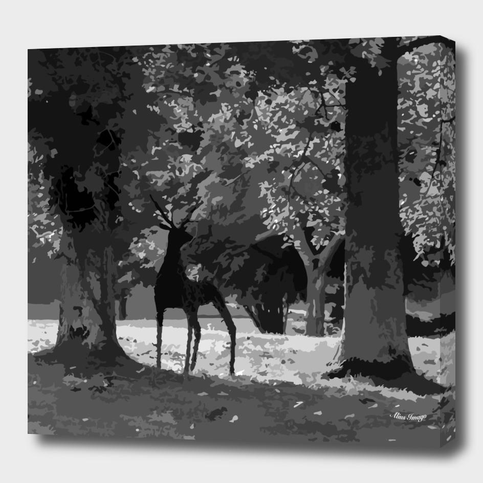 Wild Stag Woodland Monochrome