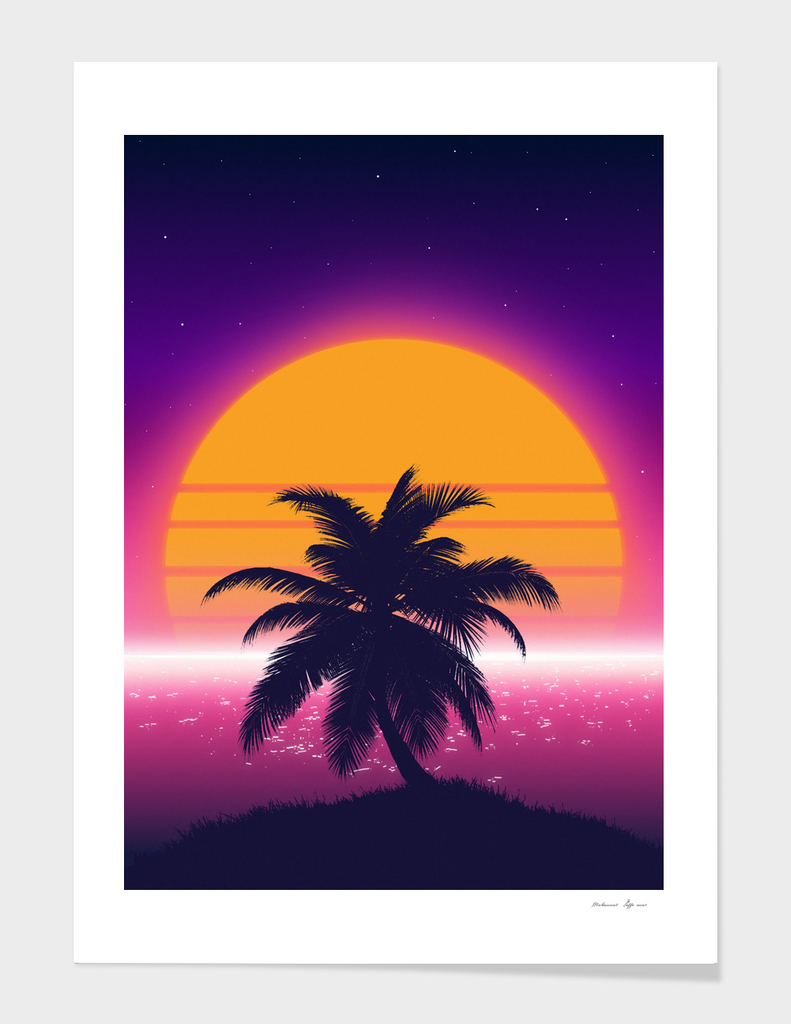 Retrowave Palm Sunset