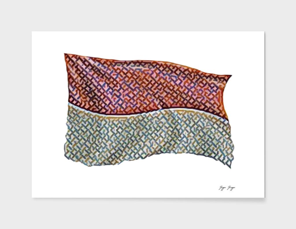 Indonesia Flag Big Raw Cloth Texture Game Simulation