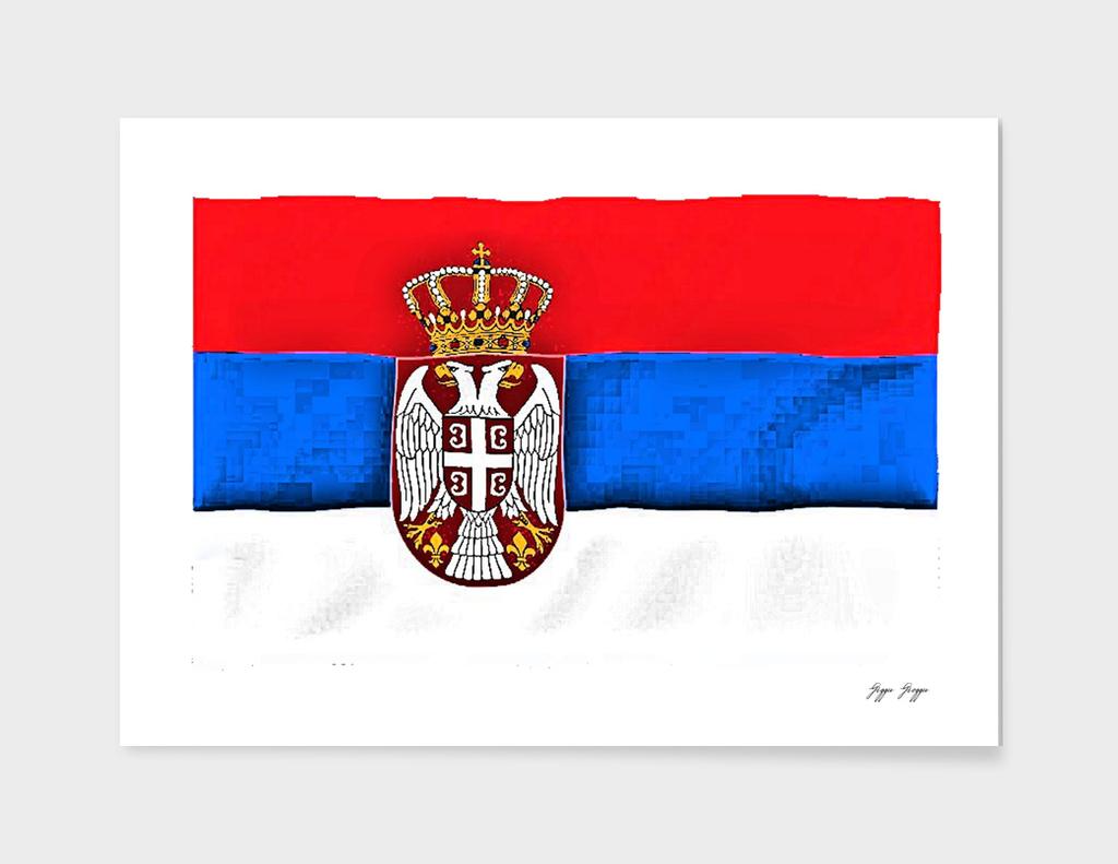 Serbia Flag Compressed Image Style Bit Erosion Size