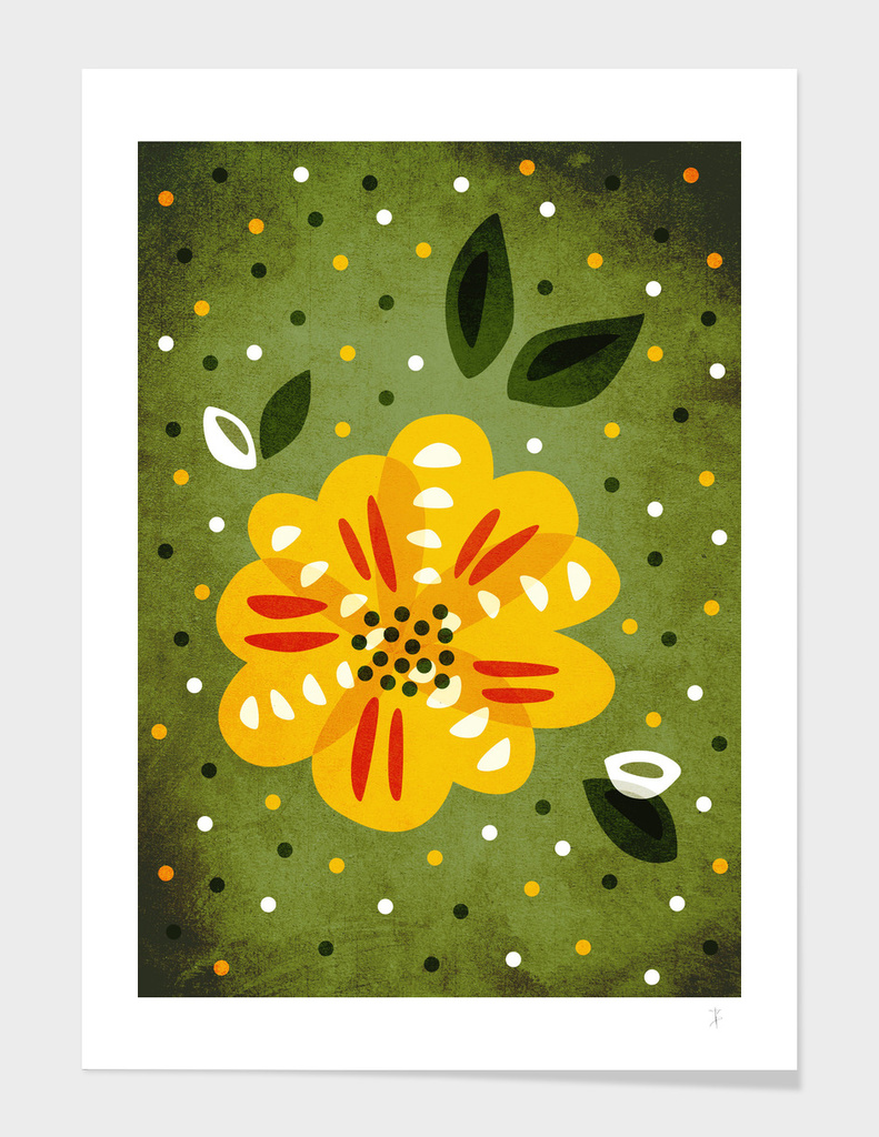 Abstract Yellow Primrose Flower