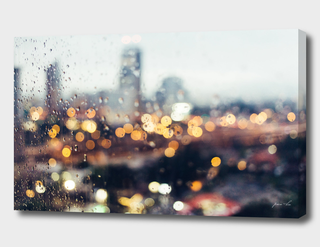 city lights in rain