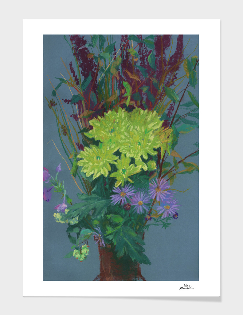 Yellow Chrysanthemum, Autumn Flowers, Floral Painting