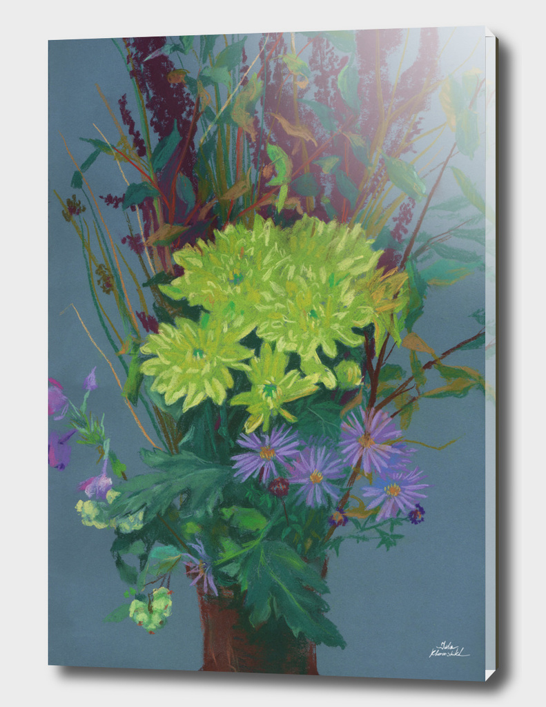 """Yellow chrysanthemum"", floral art, pastel drawing"