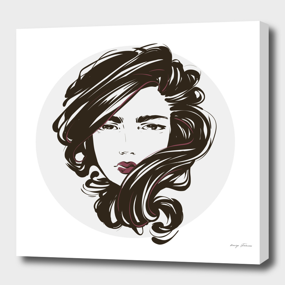 Beautiful women portrait with streaming hair.