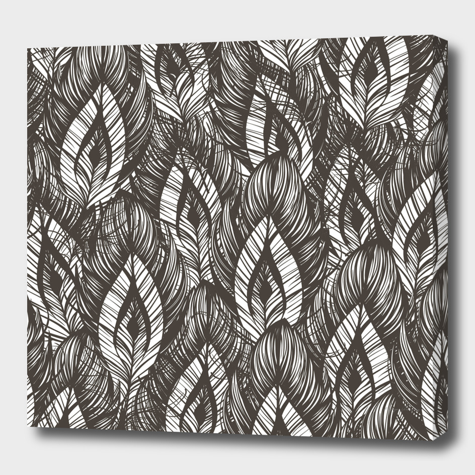 Seamless pattern with hand drawn feathers.
