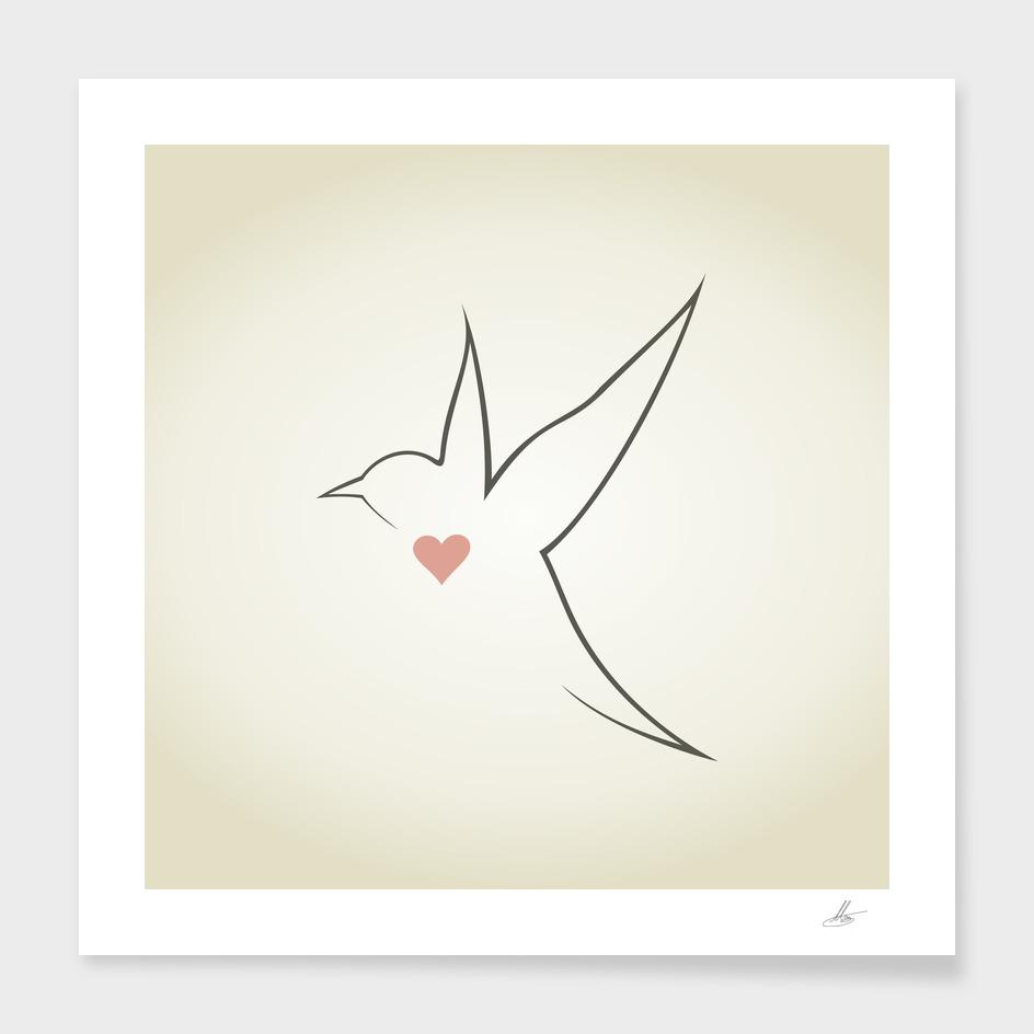 Heart a bird
