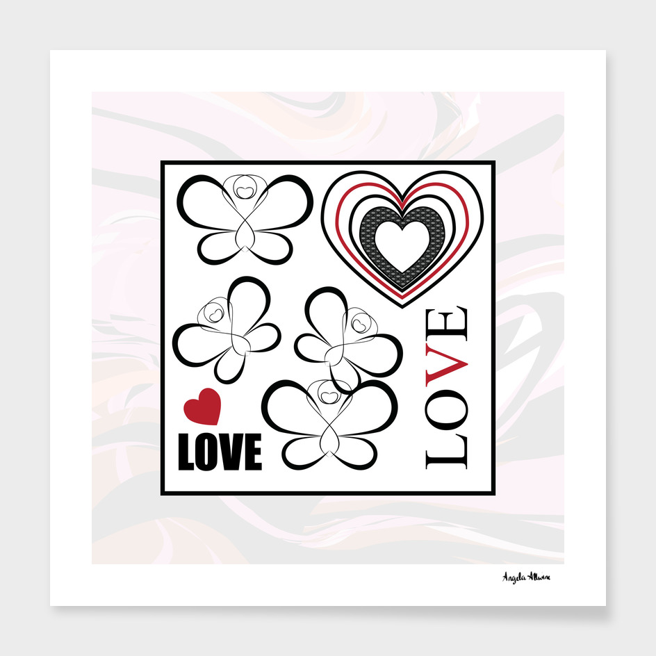 Heart And Butterfly Love Word Art