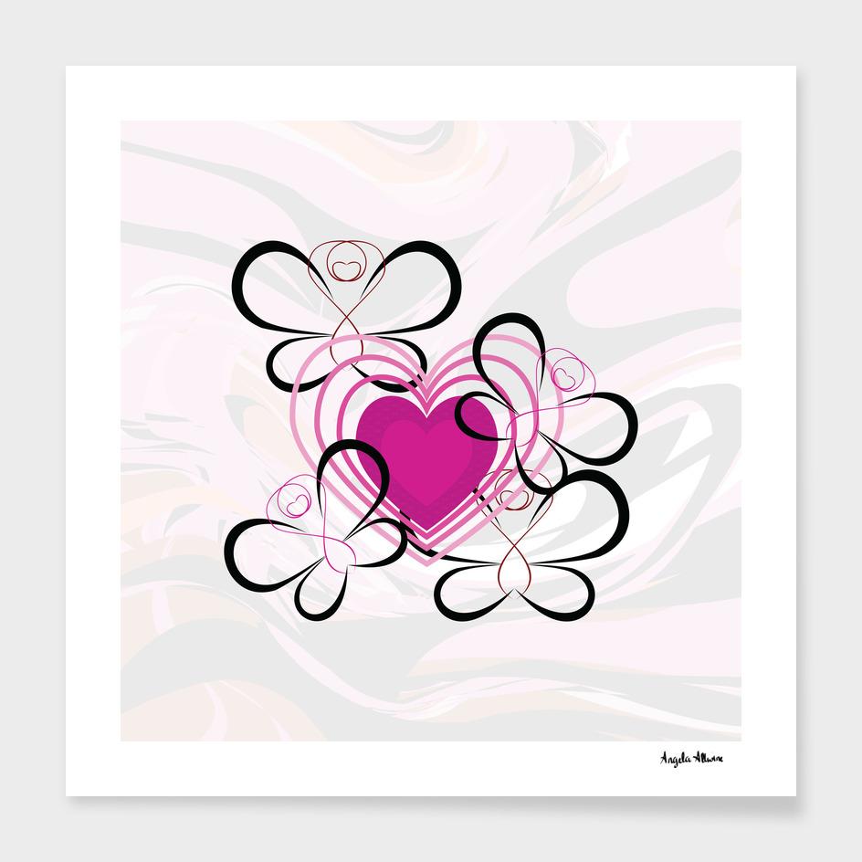 Pink Heart And Butterflies Art