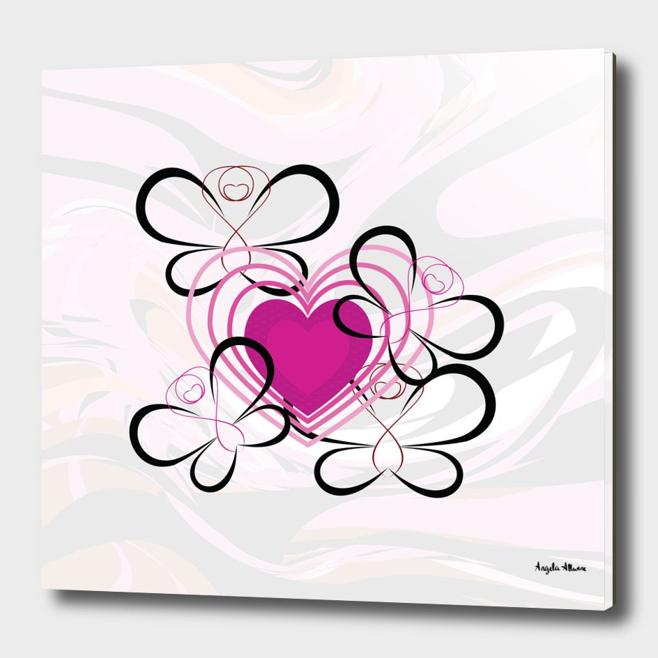 Pink Heart And Butterflies Art