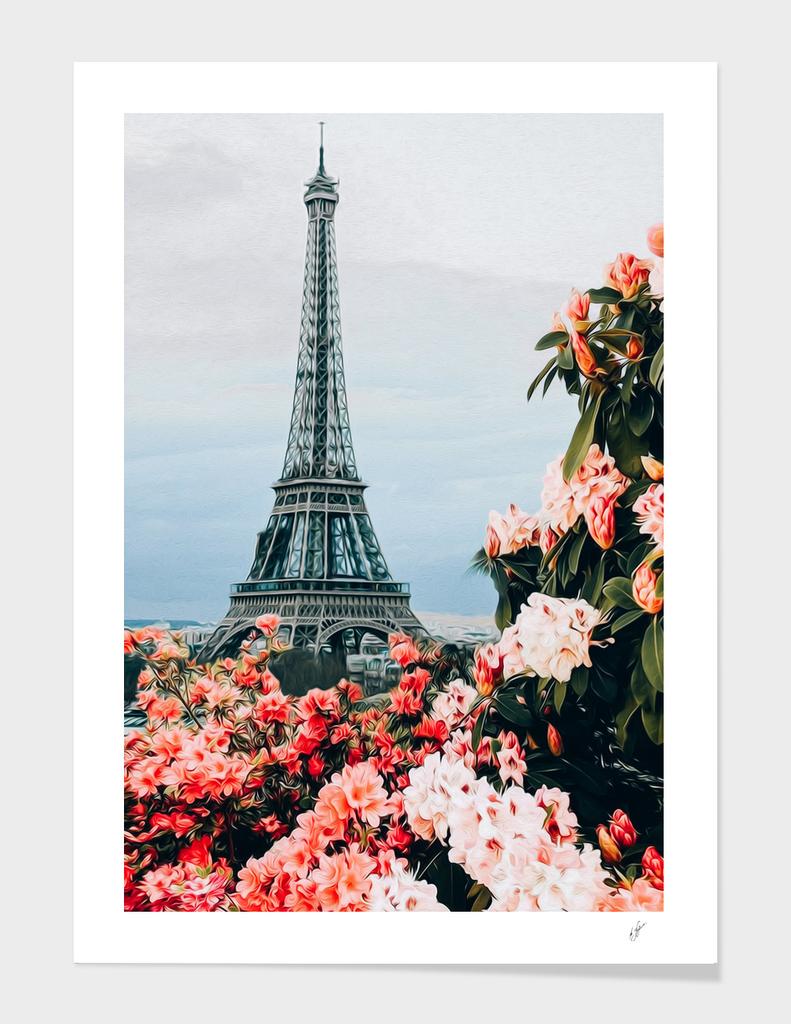 Blooming roses and azalea of Paris.