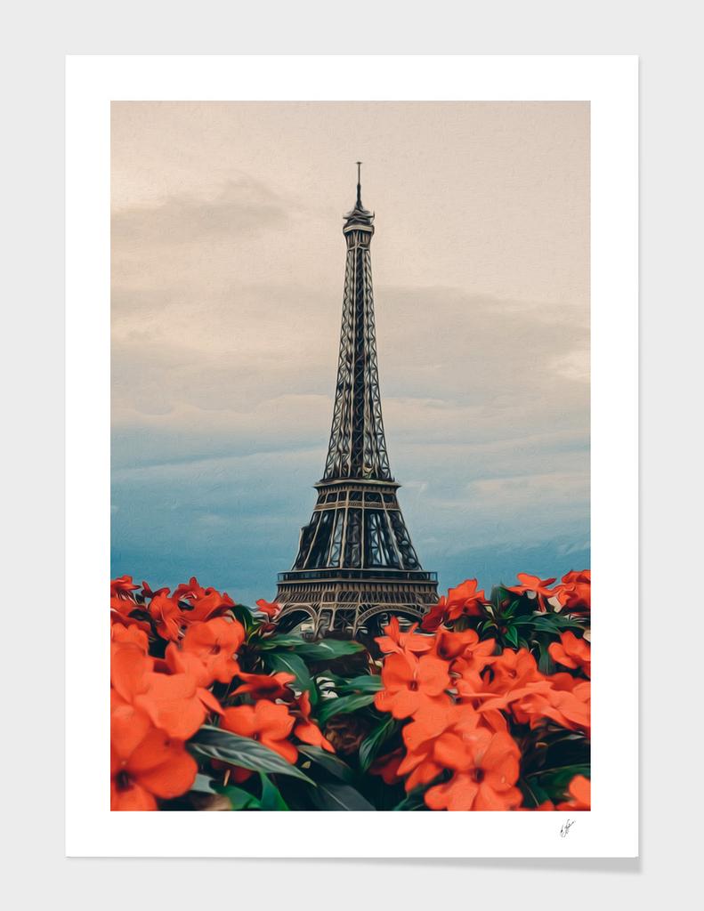 Orange begonia on the background of Paris.