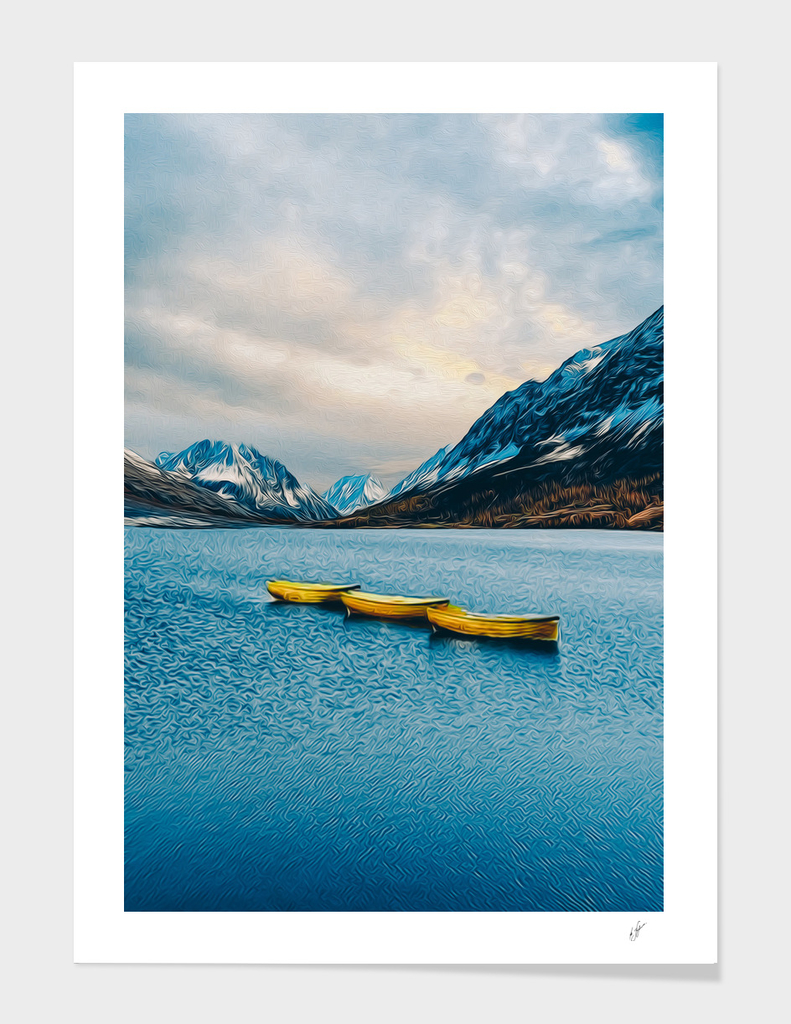 Yellow canoe on the lake in the mountains.