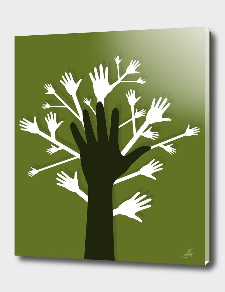 Hand a tree