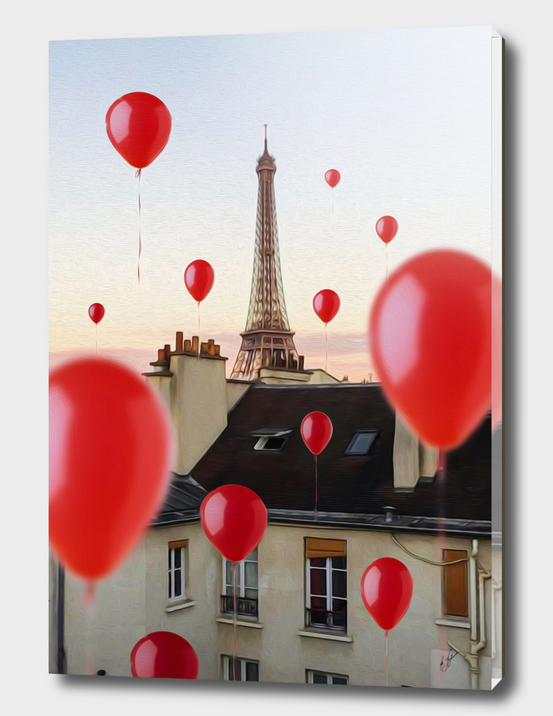 Red balloons over Paris.