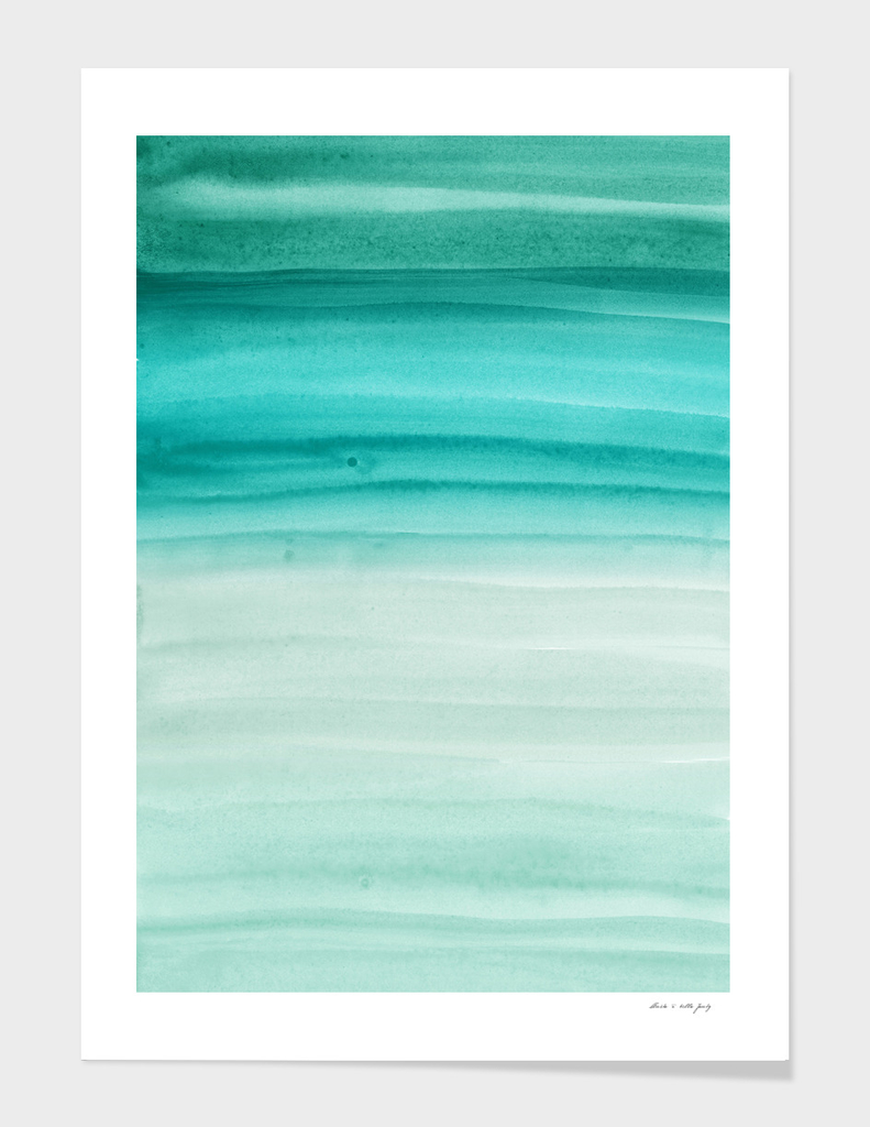 Touching Aqua Teal Green Watercolor Abstract #1 #painting