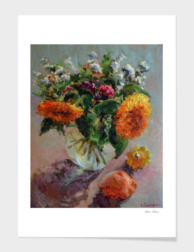 Sunflowers and bush pumpkins