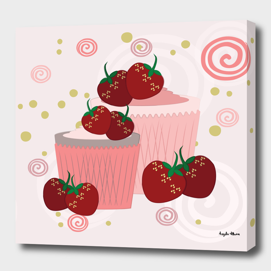 Strawberries And Cupcakes Art