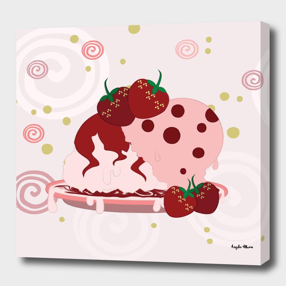 Strawberries And Ice Cream Art