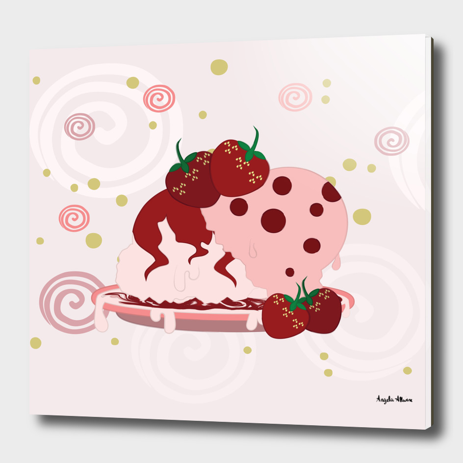 Strawberries And Ice Cream Art