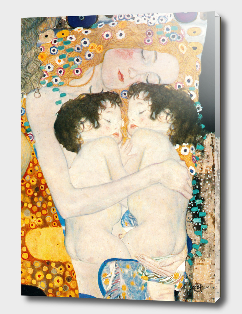 Gustav Klimt,Mother Love Twins Baby, Mother and child